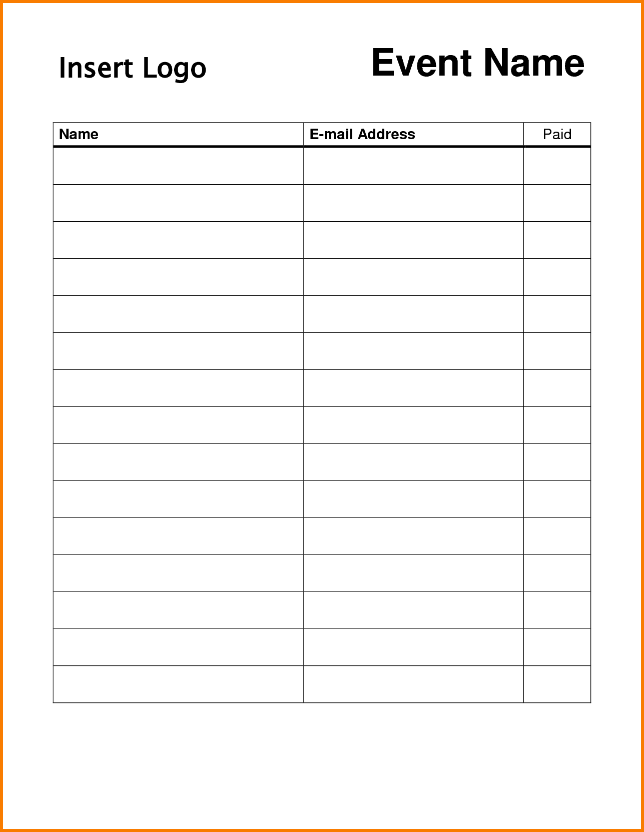 Printable Sign In Worksheets and Forms for Excel, Word and PDF