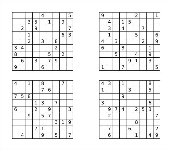 Prinable Sudoku Templates – 15+ Free Word, PDF Documents Download