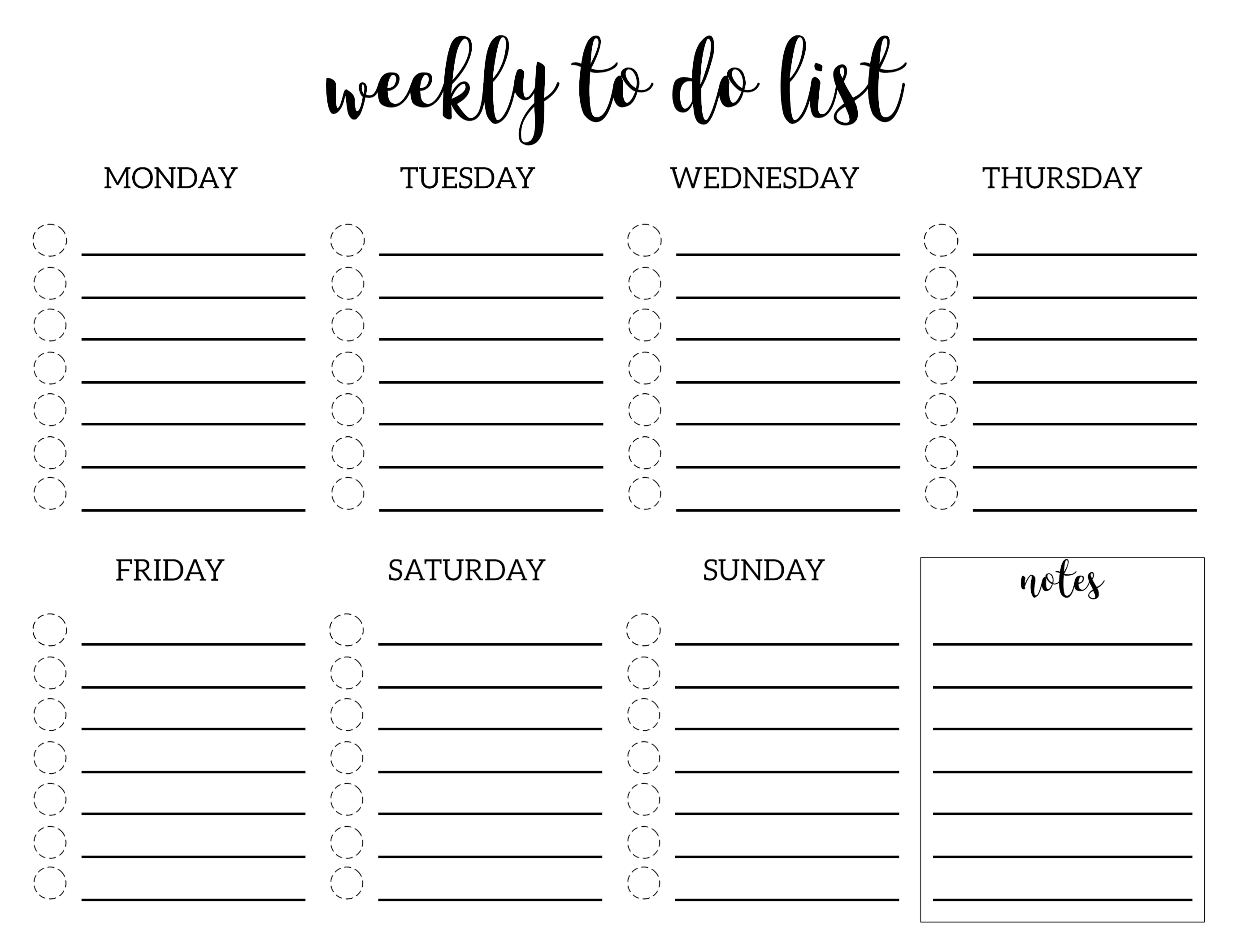 Weekly To Do List Printable Checklist Template   Paper Trail Design