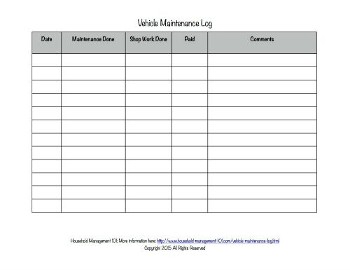 Free Printable Vehicle Maintenance Log: Why You Should Have One In