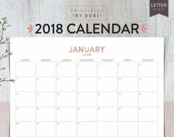 2018 Calendar Printable Wall Calendar Rose Gold Monthly | Etsy