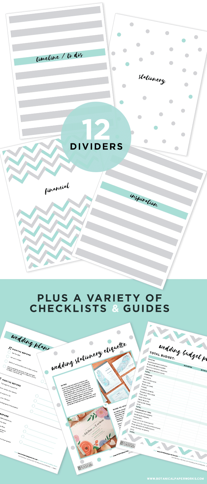 free printables} NEW Wedding Planning Binder Download With Extra