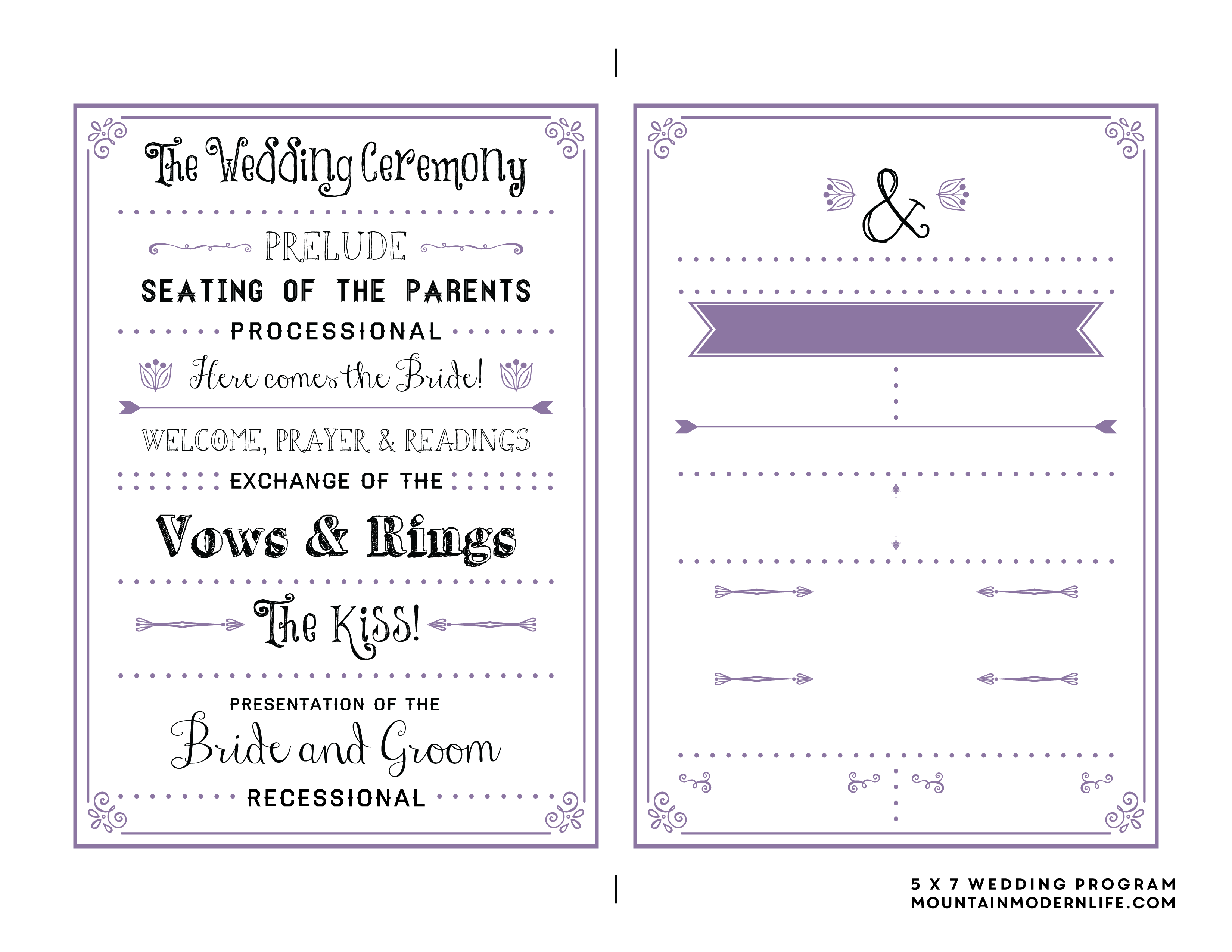 FREE Printable Wedding Program | MountainModernLife.com