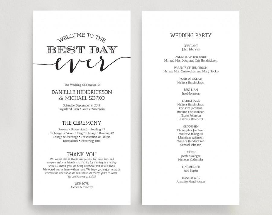 Wedding Programs, Wedding Program Instant Download, Wedding