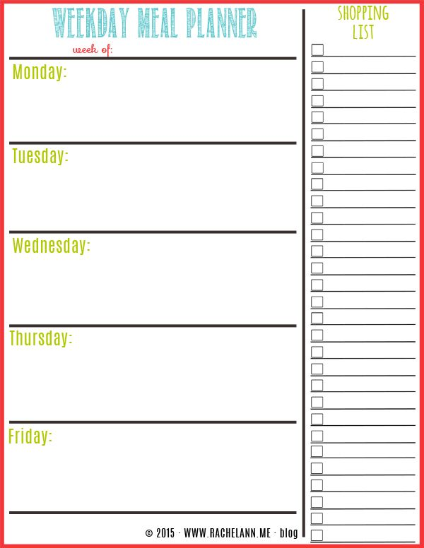 picture about Printable Meal Planner called Printable Weekly Evening meal Planner place