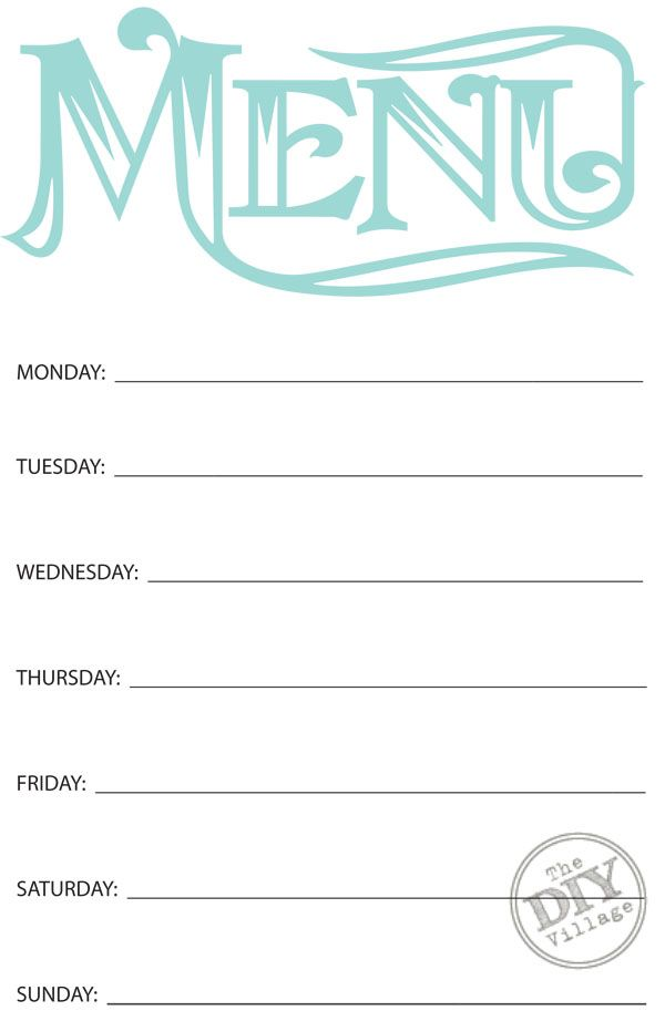 Free Printable Weekly Menu Planner | Share Your Craft | Pinterest
