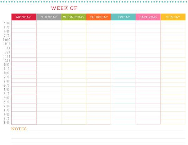 FREE Printable Weekly Schedule | thing's that caught my eye 6