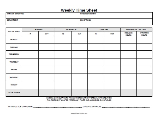free weekly time sheets   Yelom.agdiffusion.com