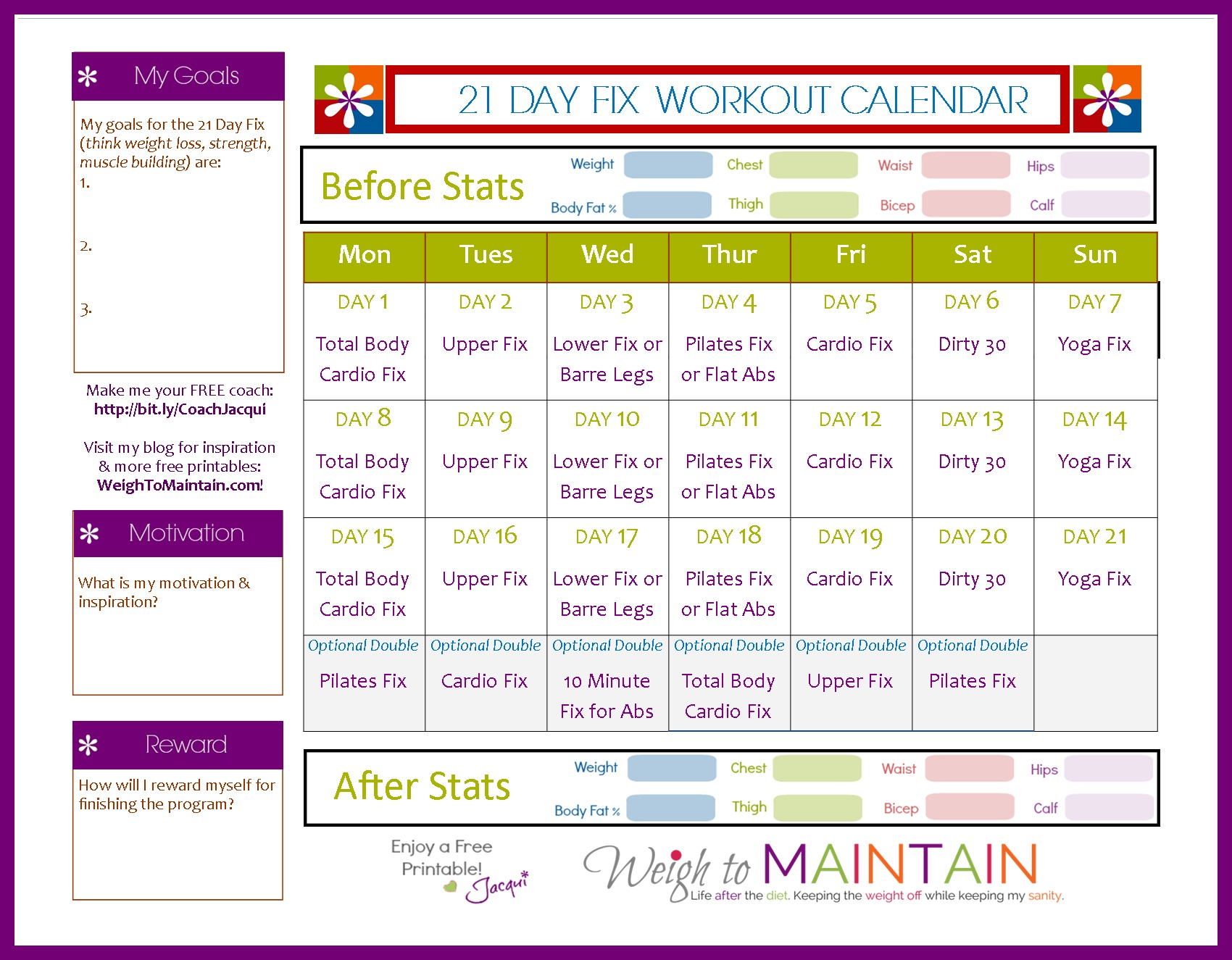 21 Day Fix Workout Schedule   Free Printable PDF