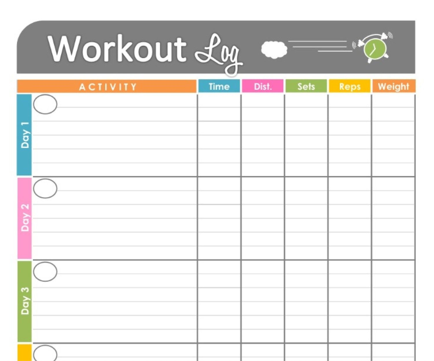 Free Printable Workout Schedule | Blank Calendar Printing
