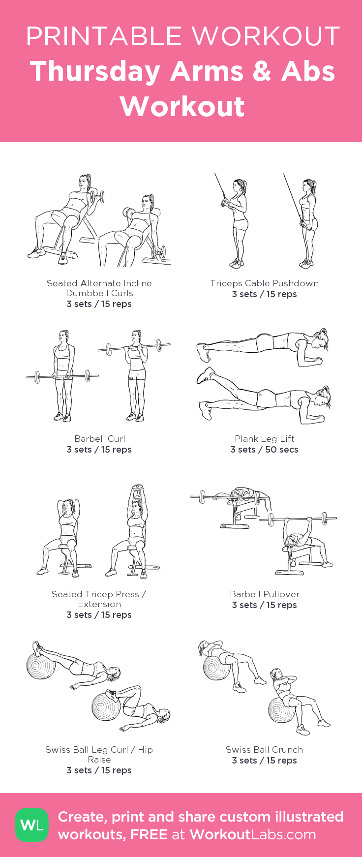 Thursday Arms & Abs Workout: my custom printable workout by