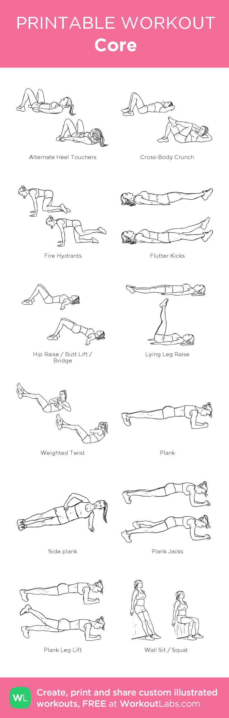 Core: my custom printable workout by @WorkoutLabs #workoutlabs