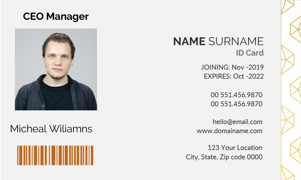 CEO Manager Id Card Template