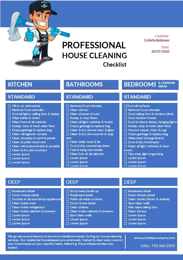 Professional House Cleaning Checklist
