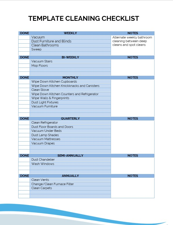 Template cleaning checklist
