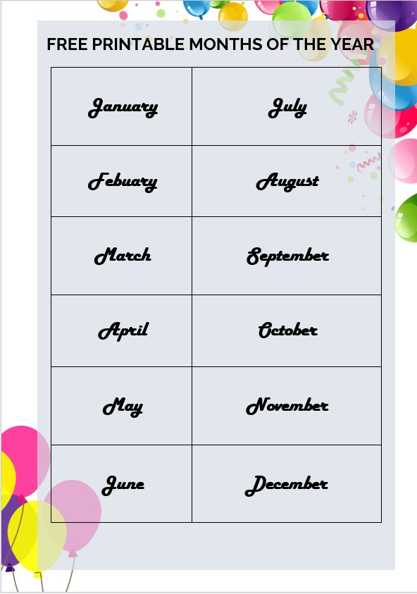 ballon printable months of the year