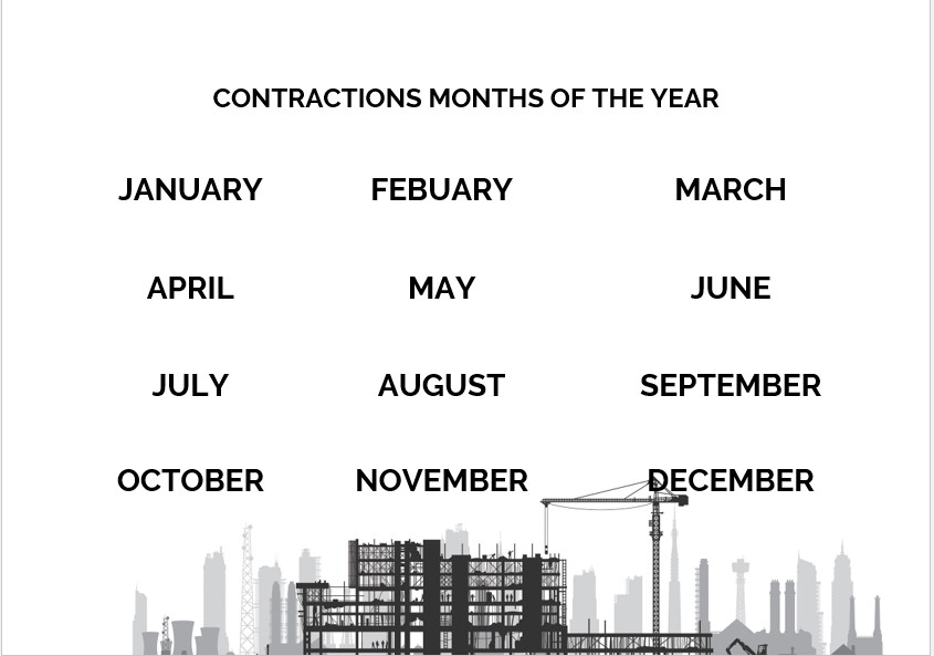 contructions months of the year