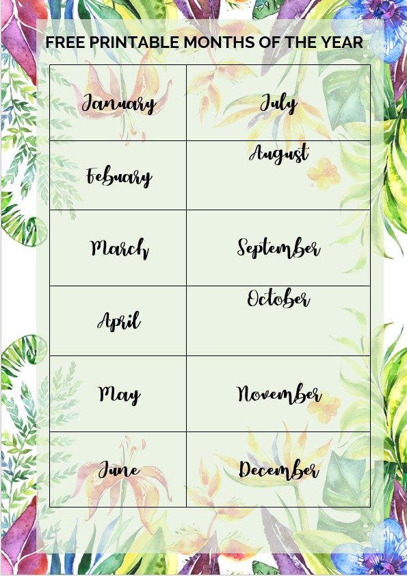 flower printable months of the year