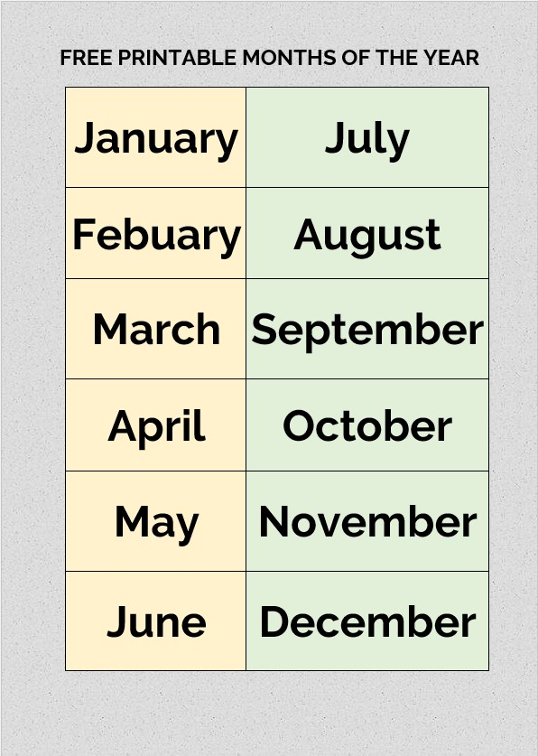 free printable months of the year
