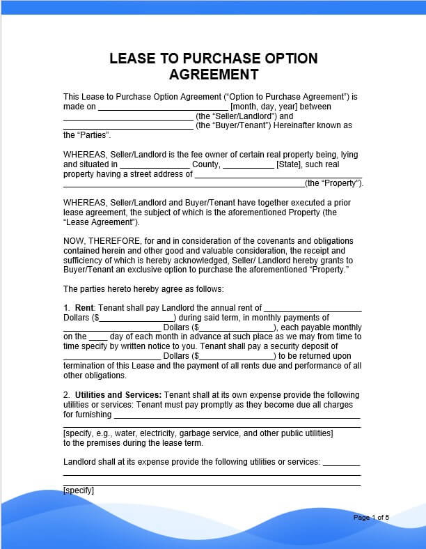 lease to own option to purchase agreement