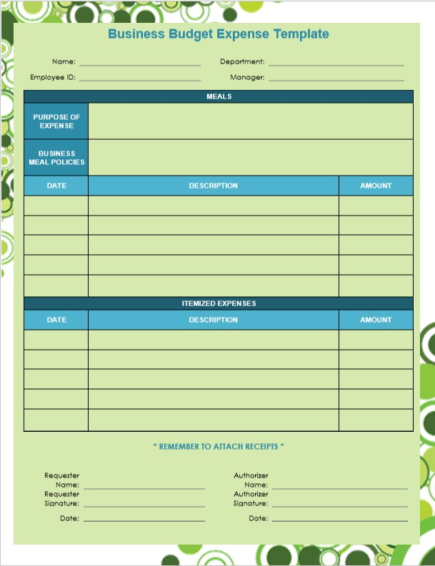 Business Budget Expense Template