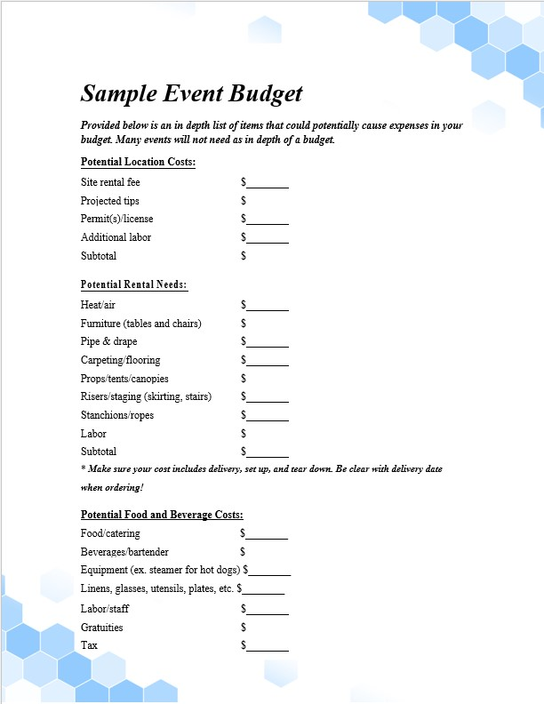 Printable proposal Event budget template
