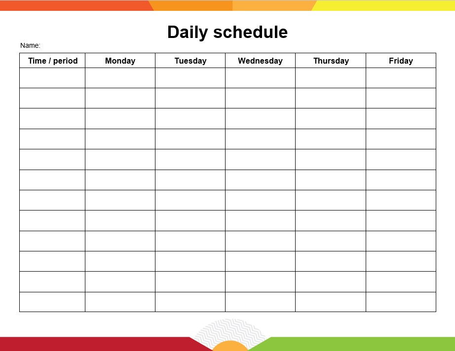 Table Daily schedule