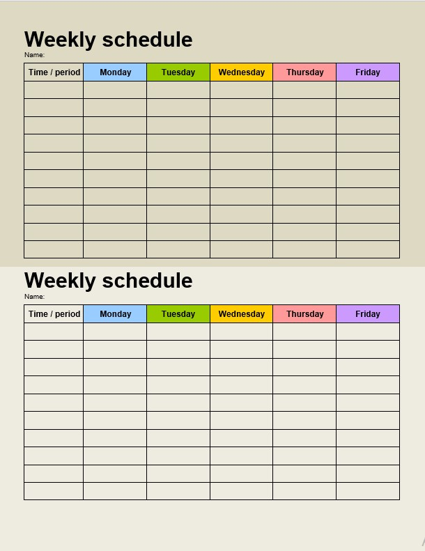 Two Daily schedule Template