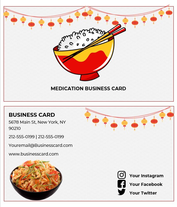 chinese food business cards templates
