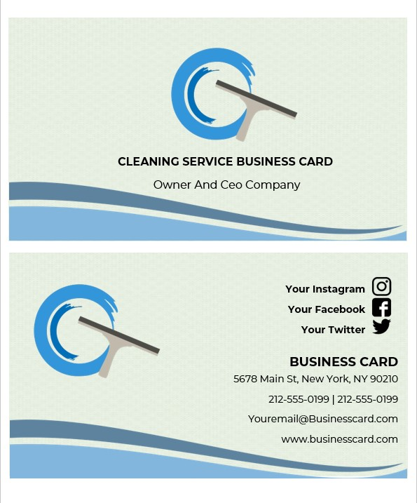 cleaning service business cards templates