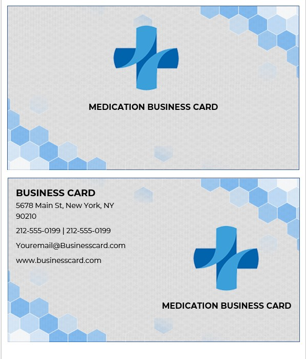 printable medication business cards templates