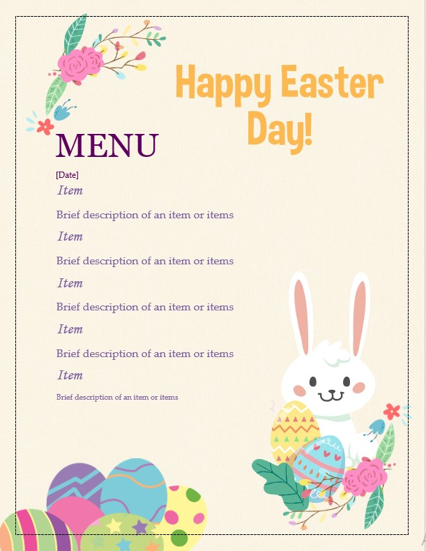 Easter day menu template
