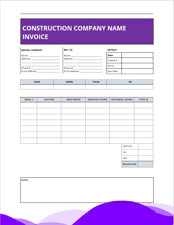 Example construction invoice template