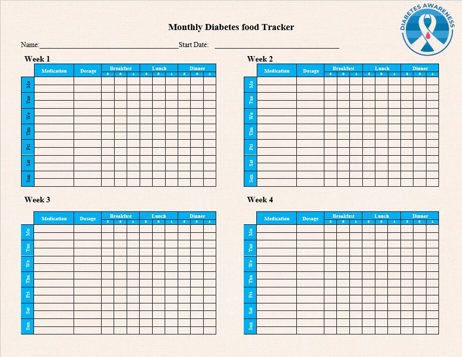 Monthly Diabetes food Tracker