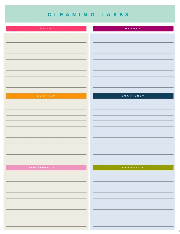 Simple house cleaning checklist