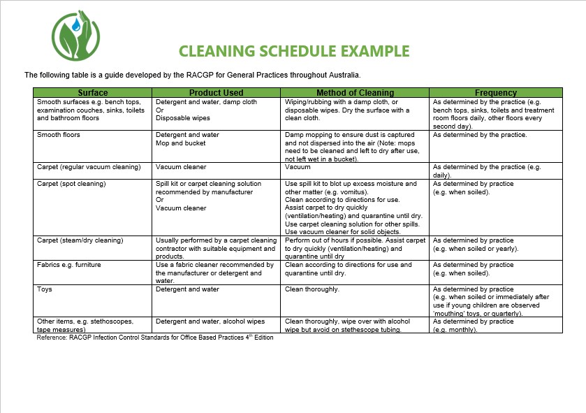 house cleaning schedule example