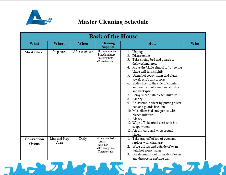 master house cleaning schedule