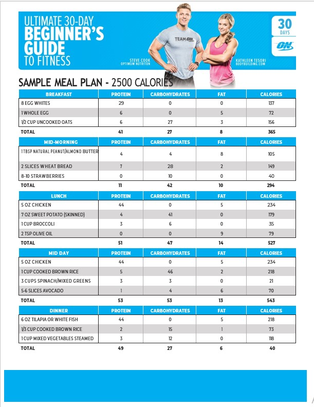 Fitness Meal Planning Template