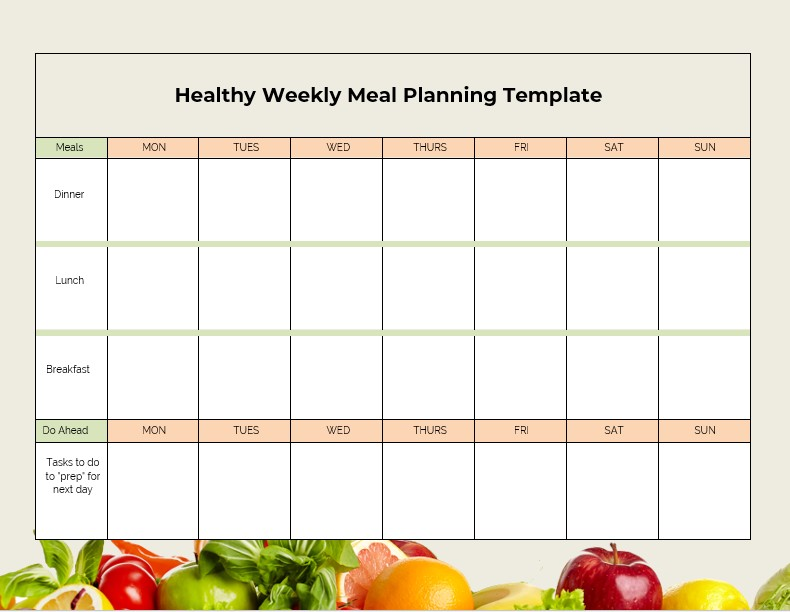 Healthy Weekly Meal Planning Template