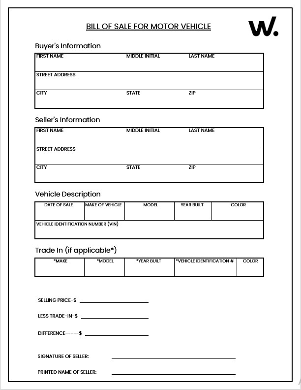 New Motor Vehicle Bill of Sale Form