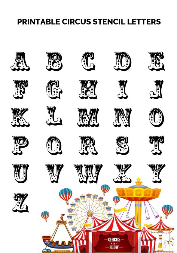 Printable Circus Stencil Letters