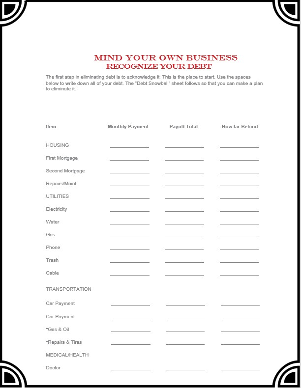 debt payoff business template