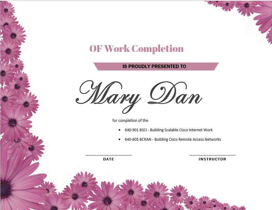 Flower Completion Certificate Template