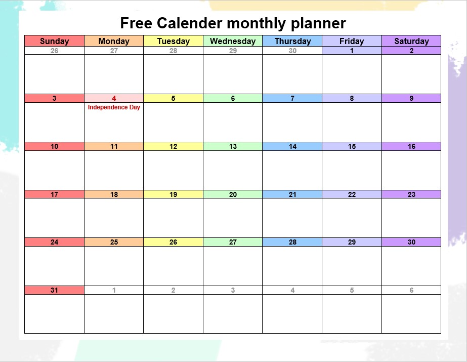 Free Calender monthly planner