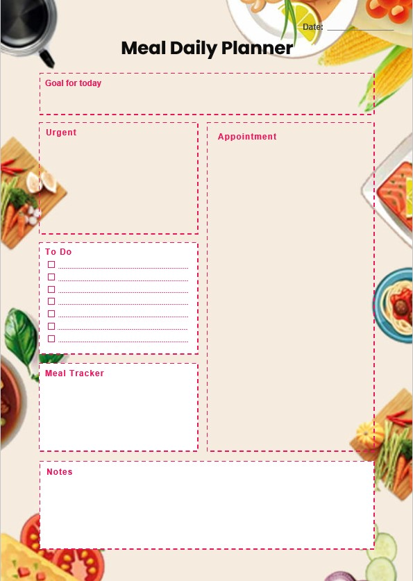 Meal Daily Planner Template