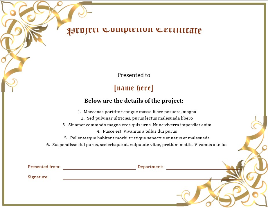 Printable Completion Certificate