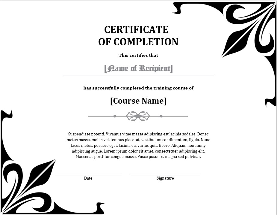 Simple Training Completion Certificate