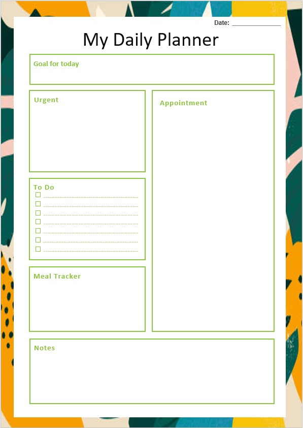 Table Daily Planner Template