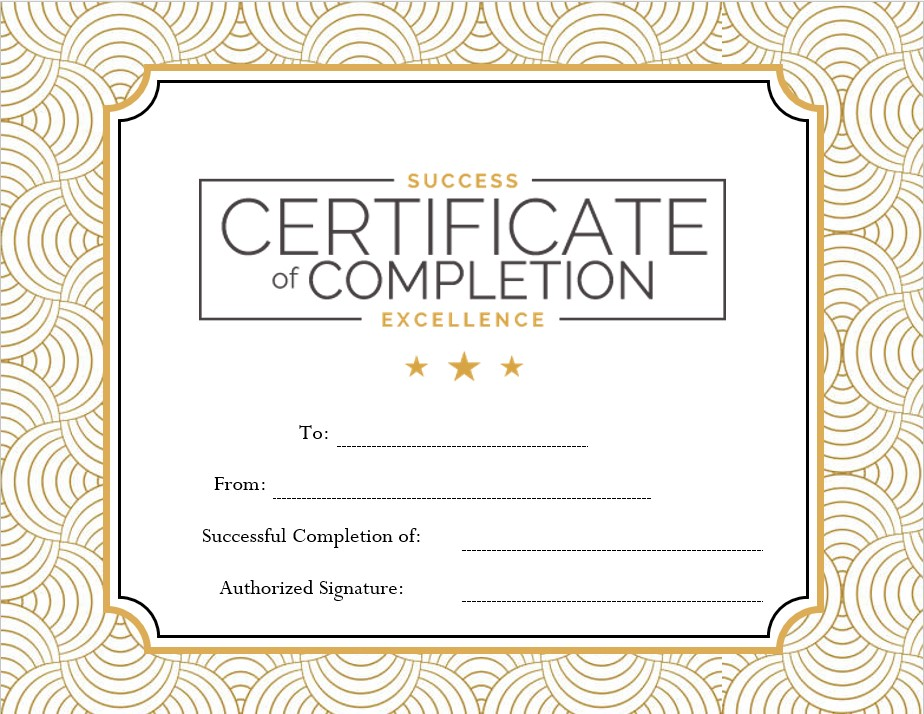 blank excellence certificate completion