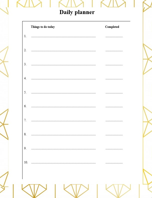 Blank daily planner template